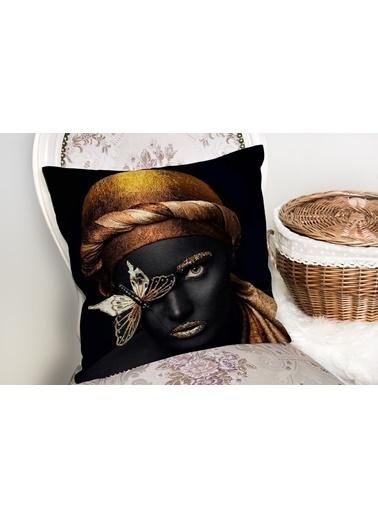 Real Homes Gold Siyahı Kadın Özel Tasarımlı dekoratif Yastık Kırlent Kılıfı Renkli